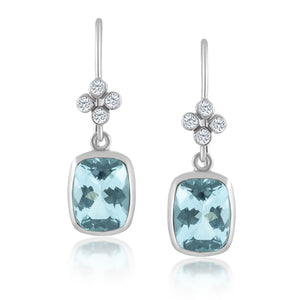 AQUAMARINE DIAMOND WHITE GOLD CLOVER EARRINGS