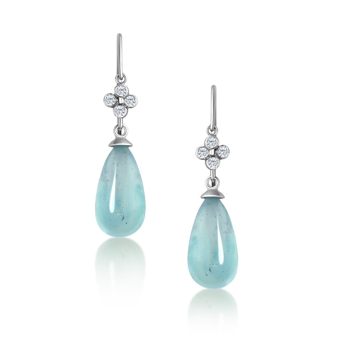 AQUAMARINE DIAMOND CLOVER WHITE GOLD EARRINGS