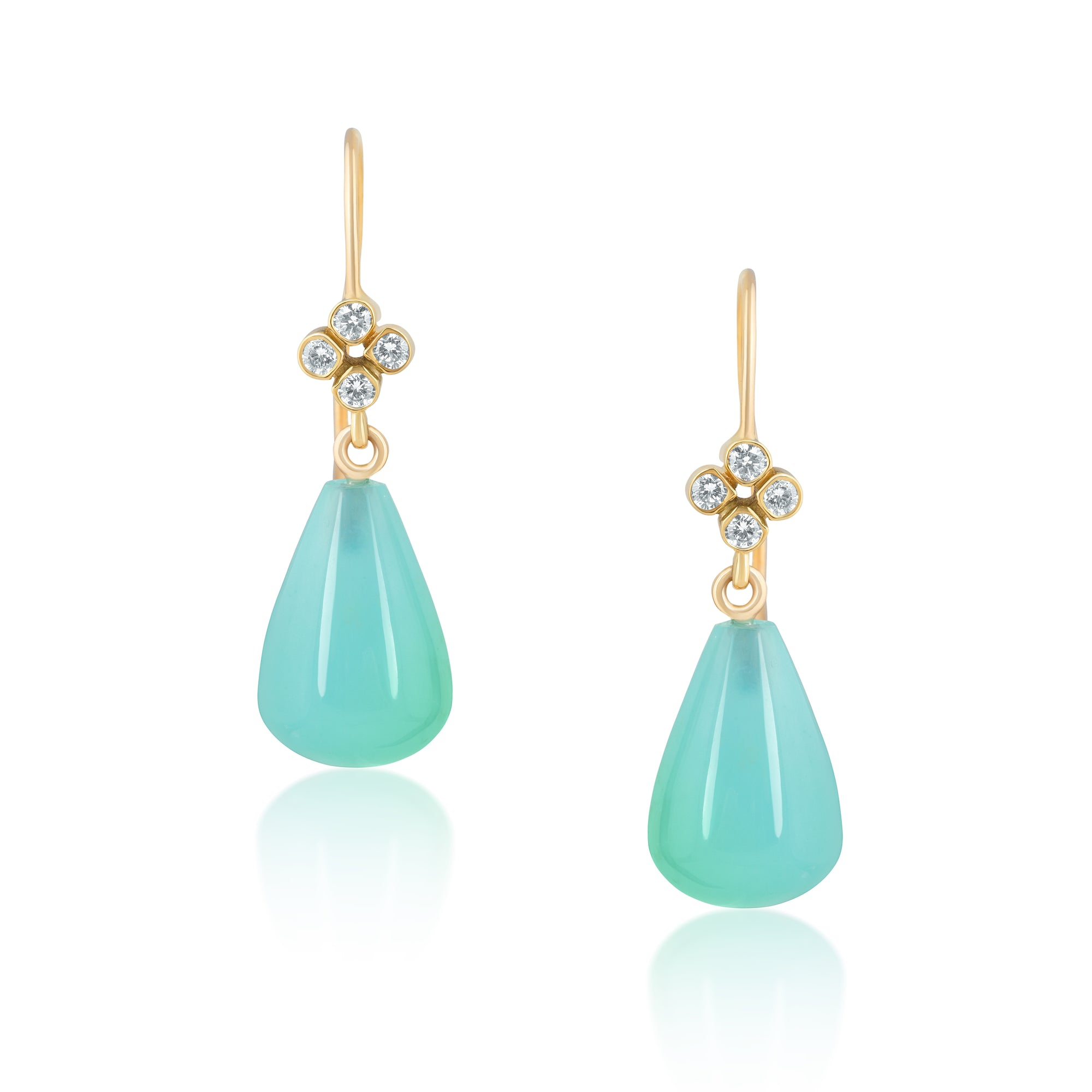 CLOVER PERUVIAN OPAL DIAMOND EARRINGS