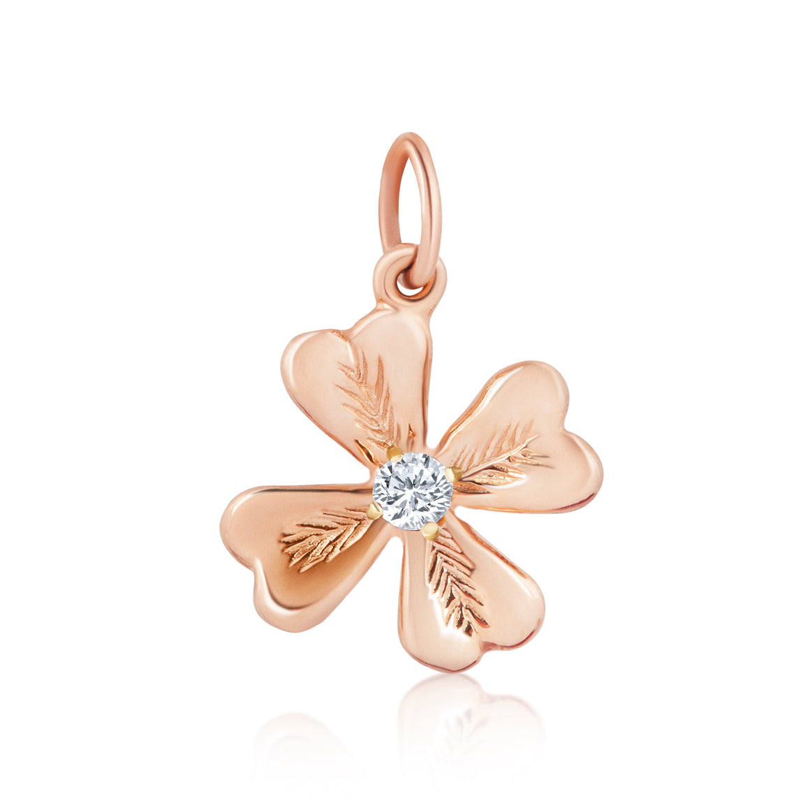 FOUR LEAF DIAMOND CLOVER CHARM - ROSE GOLD