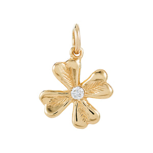 FOUR LEAF DIAMOND CLOVER CHARM