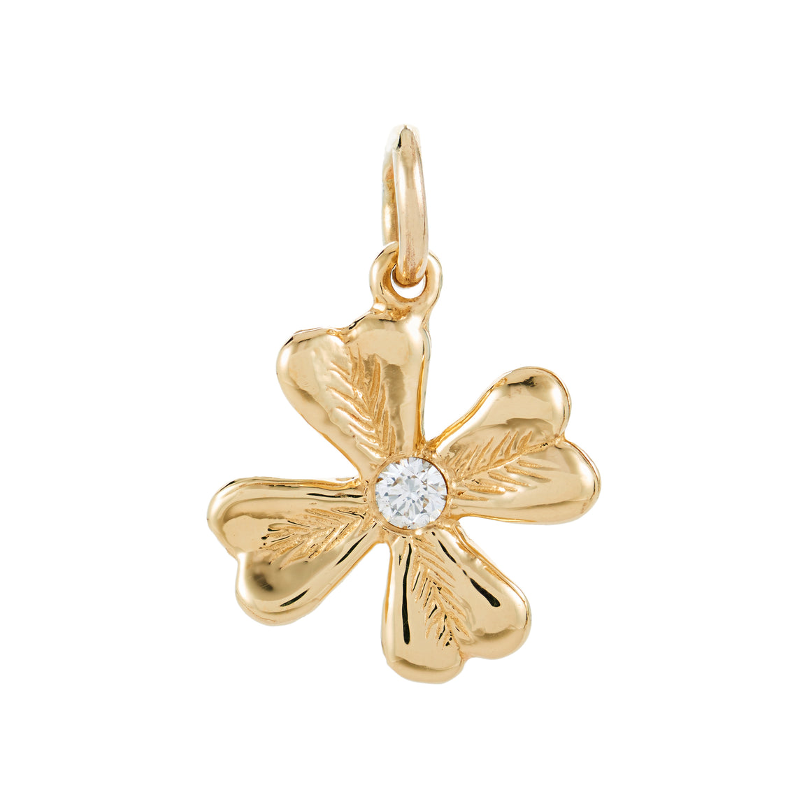 FOUR LEAF DIAMOND CLOVER CHARM - YELLOW GOLD