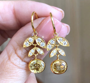 GOLDEN ZIRCON LOTUS EARRINGS