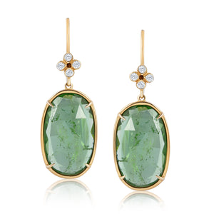 CLOVER TOURMALINE DIAMOND EARRINGS