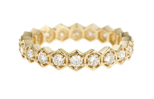 DIAMOND HEXAGON YELLOW GOLD RING