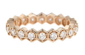 DIAMOND HEXAGON ROSE GOLD RING