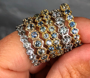 MONTANA SAPPHIRE HEXAGON ETERNITY RING