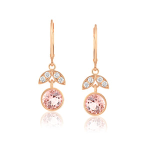 MORGANITE DIAMOND ROSE GOLD LOTUS EARRINGS