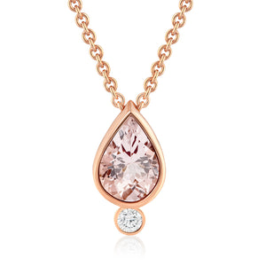 MORGANITE DIAMOND LOTUS SEED NECKLACE
