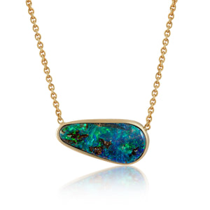 BLUE/GREEN BOULDER OPAL NECKLACE