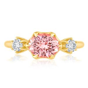 PINK TOURMALINE DIAMOND THREE STONE RING 1.73CTTW