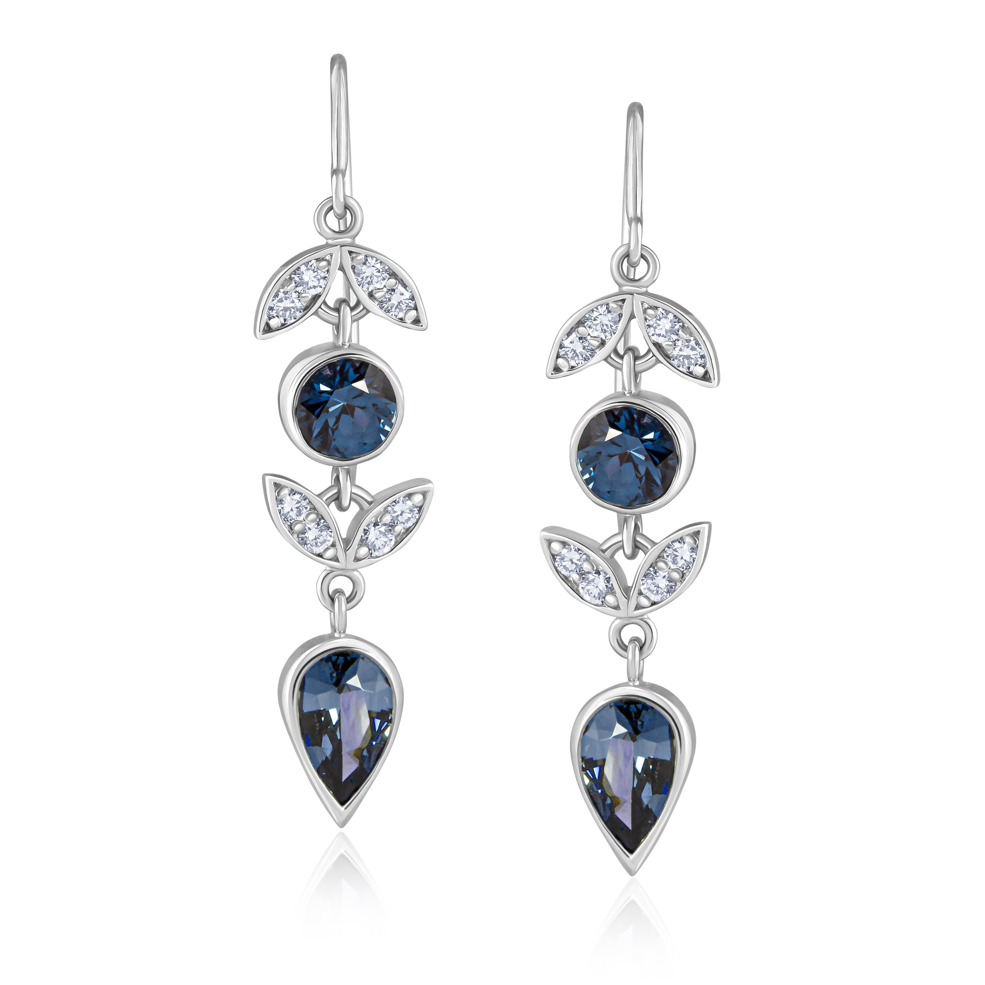 PLATINUM DIAMOND SPINEL LOTUS EARRINGS