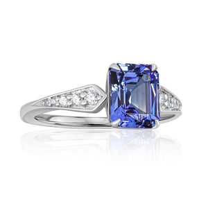 TANZANITE PLATINUM RING 2.29cttw