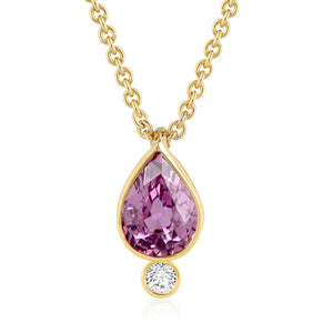 PLUM/PURPLE SAPPHIRE DIAMOND LOTUS SEED NECKLACE