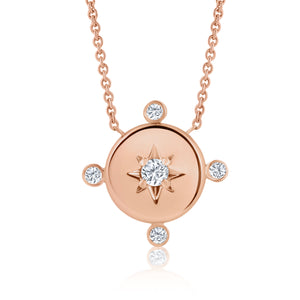 ROSE GOLD DIAMOND LUCKY STAR COMPASS NECKLACE