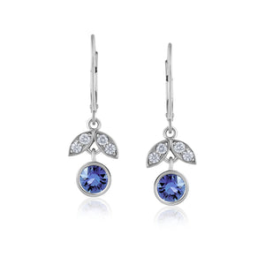 BLUE SAPPHIRE DIAMOND WHITE GOLD LOTUS EARRINGS