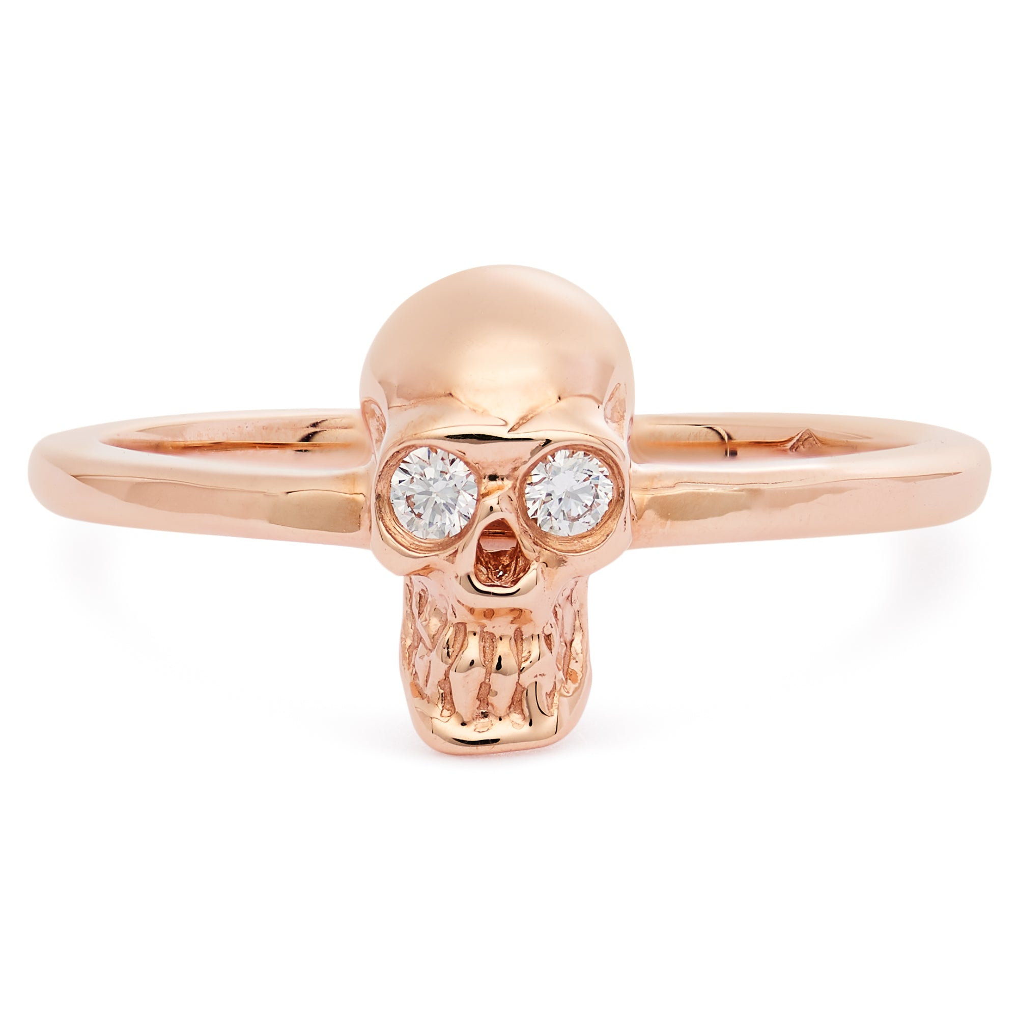 DIAMOND SKULL STACKING RING ROSE GOLD