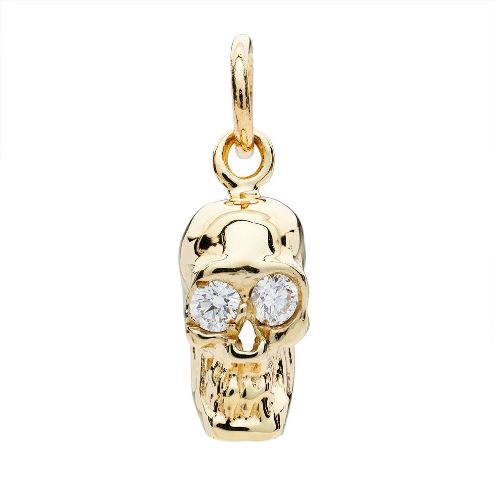 DIAMOND SKULL CHARM YELLOW GOLD