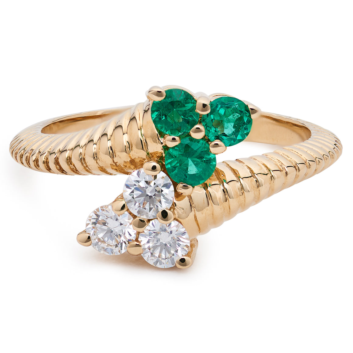 DIAMOND AND EMERALD CLOVER BYPASS RING
