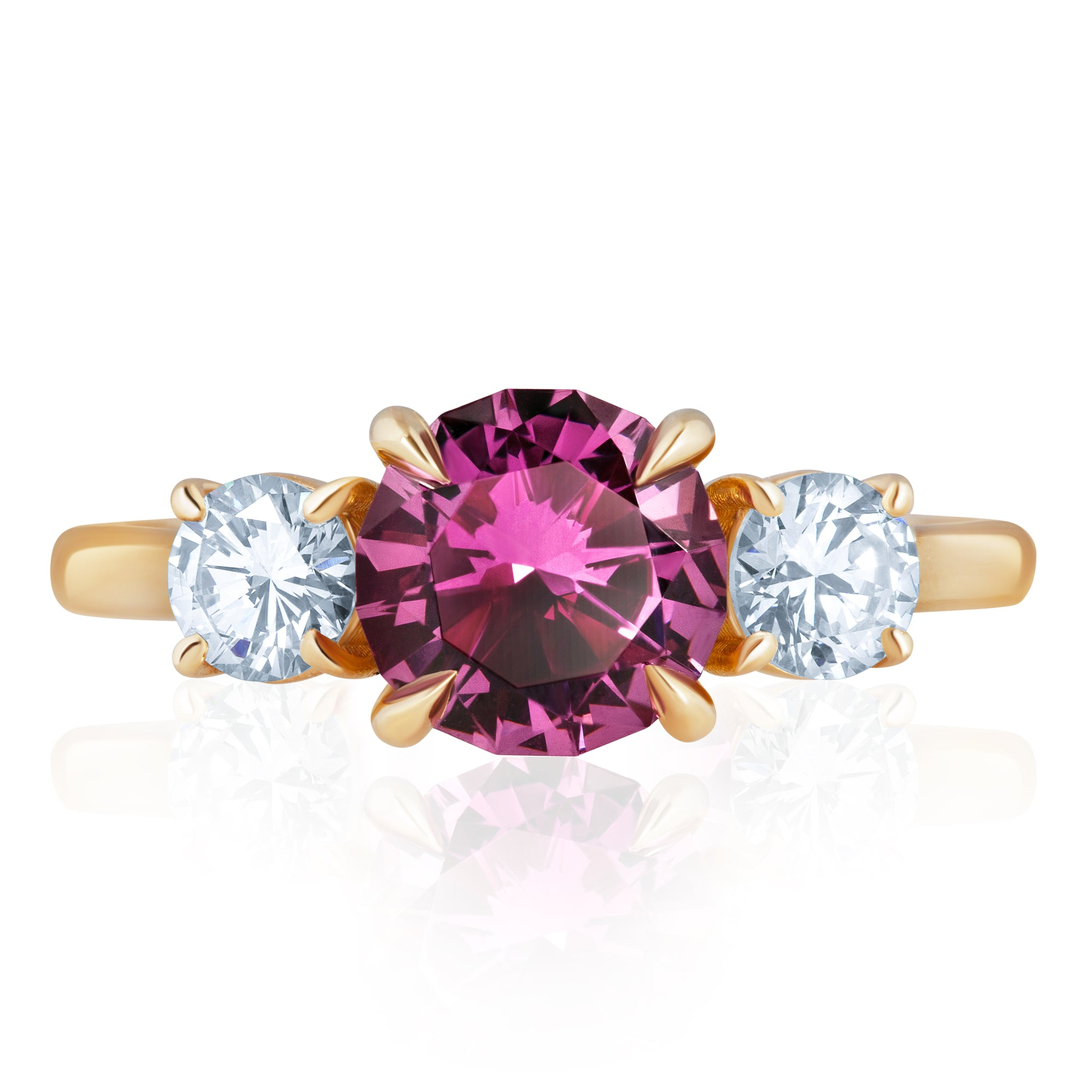 THREE STONE TOURMALINE DIAMOND RING 2.11cttw