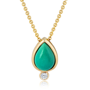 TURQUOISE DIAMOND LOTUS SEED NECKLACE