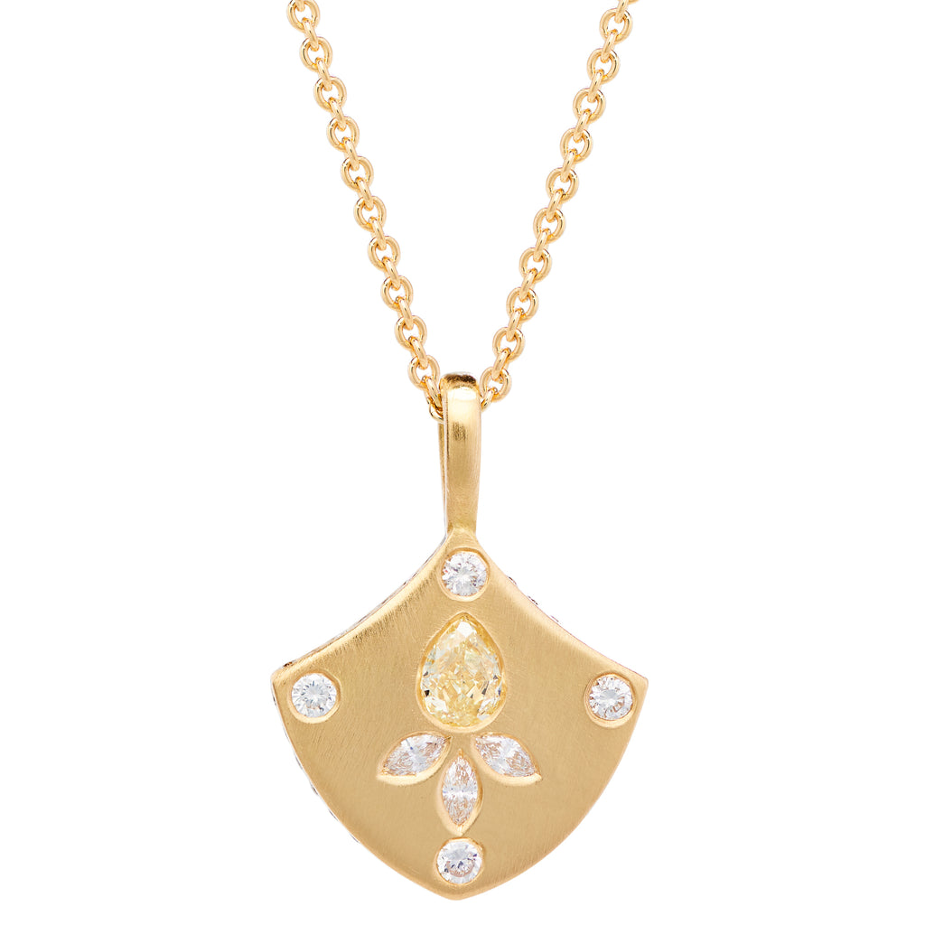 18K YELLOW DIAMOND LOTUS SHIELD