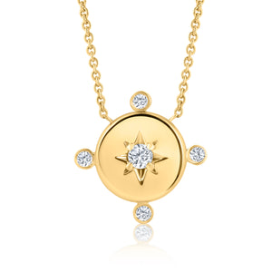 YELLOW GOLD DIAMOND LUCKY STAR COMPASS NECKLACE