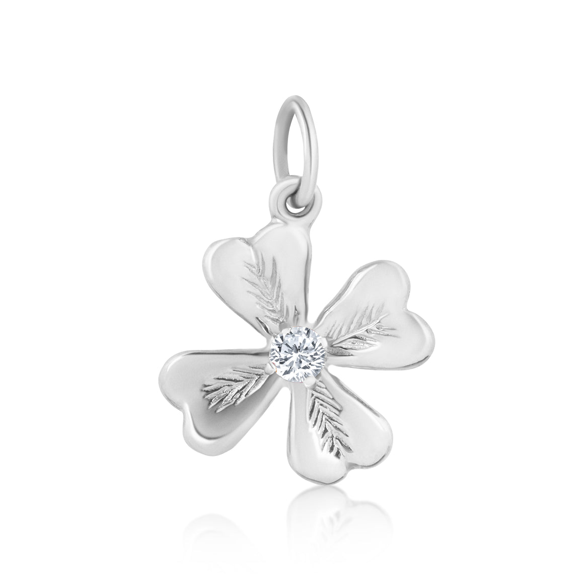 FOUR LEAF DIAMOND CLOVER CHARM - WHITE GOLD