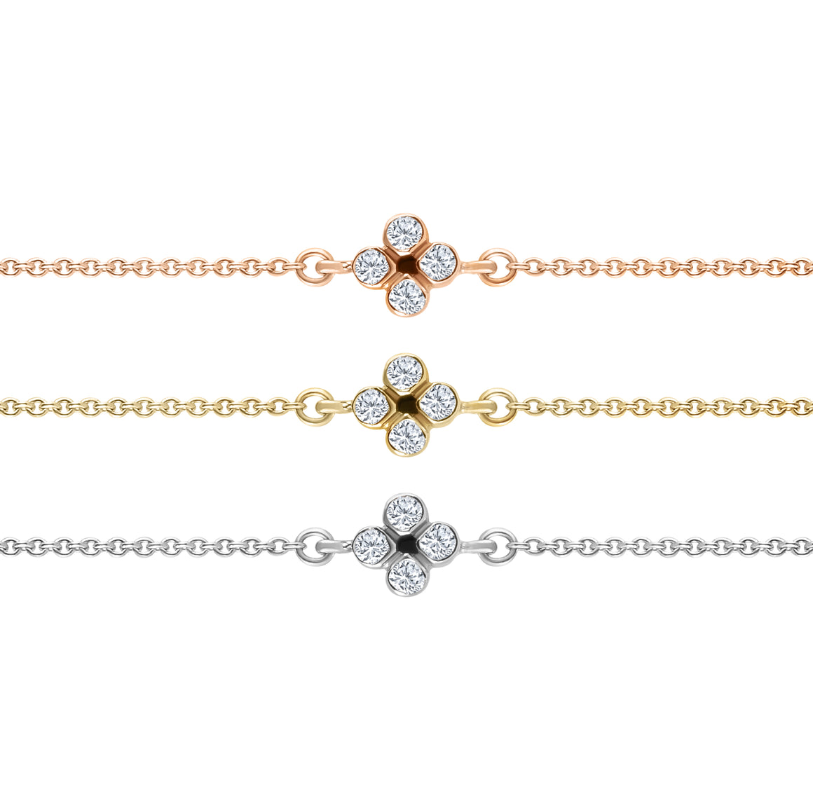 FOUR LEAF DIAMOND CLOVER BRACELET