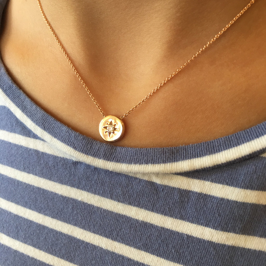 14K LUCKY STAR NECKLACE - ROSE