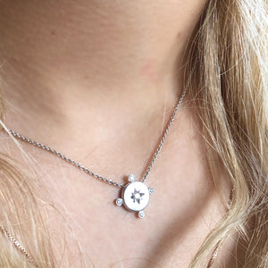 WHITE GOLD DIAMOND LUCKY STAR COMPASS NECKLACE