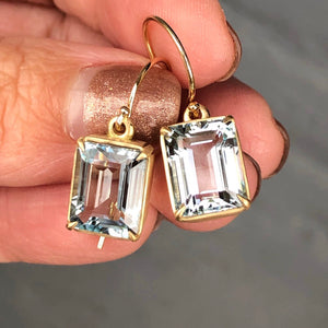 AQUAMARINE EMERALD CUT EARRINGS