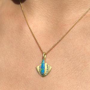 BOULDER OPAL AND DIAMOND LOTUS SHIELD
