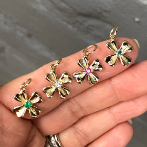 FOUR LEAF GEMSTONE CLOVER CHARM