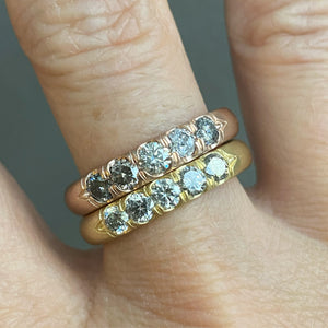 GRAY DIAMOND GOLD STACKING BAND