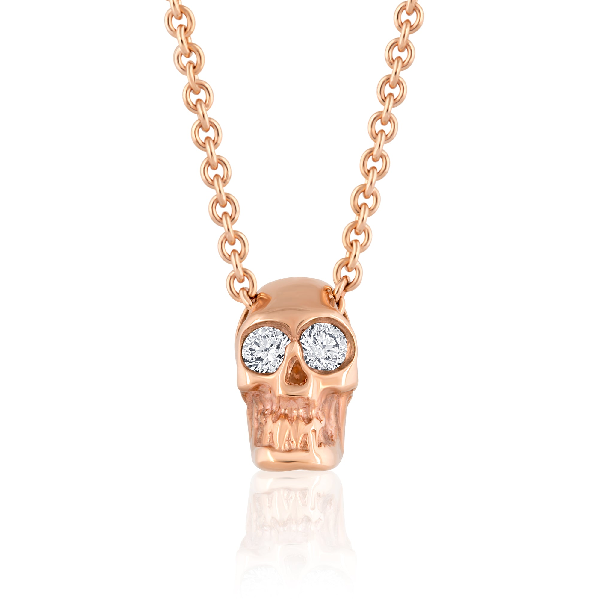 DIAMOND SKULL SLIDE NECKLACE ROSE GOLD