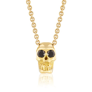BLACK DIAMOND SKULL SLIDE NECKLACE YELLOW GOLD