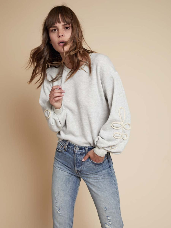Nation LTD Adaline Sweatshirt in Light Heather Grey