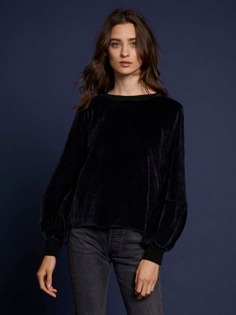 Nation LTD Kiera Velour Sweatshirt in Black