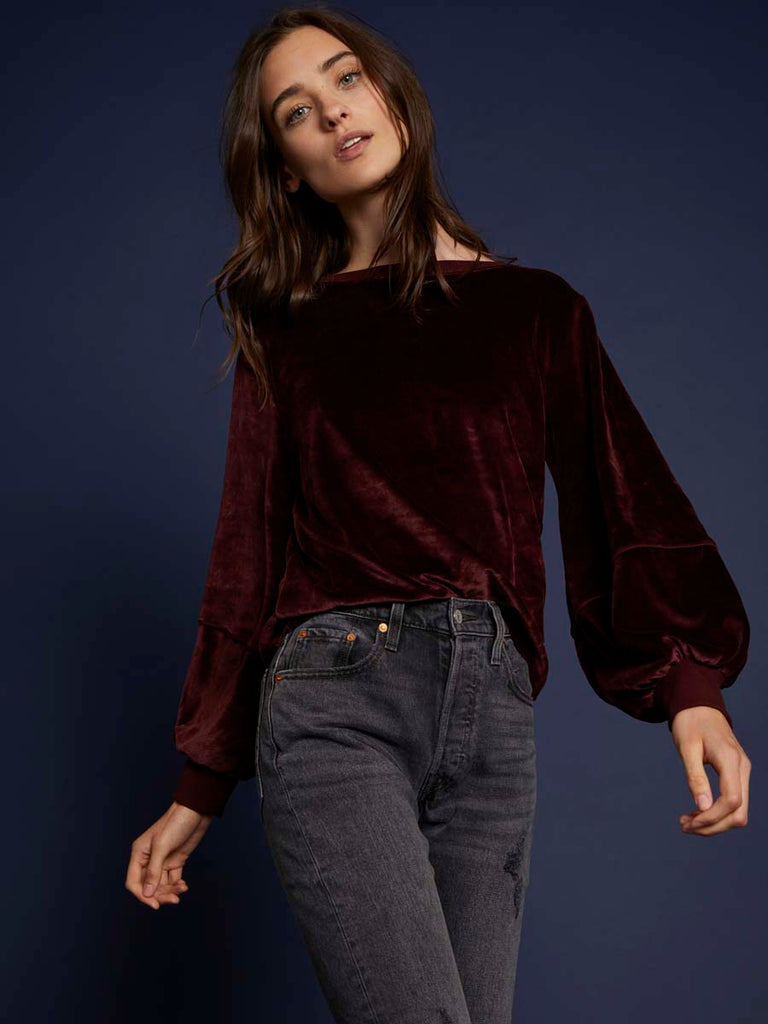 Nation LTD Kiera Velour Sweatshirt in Cabernet