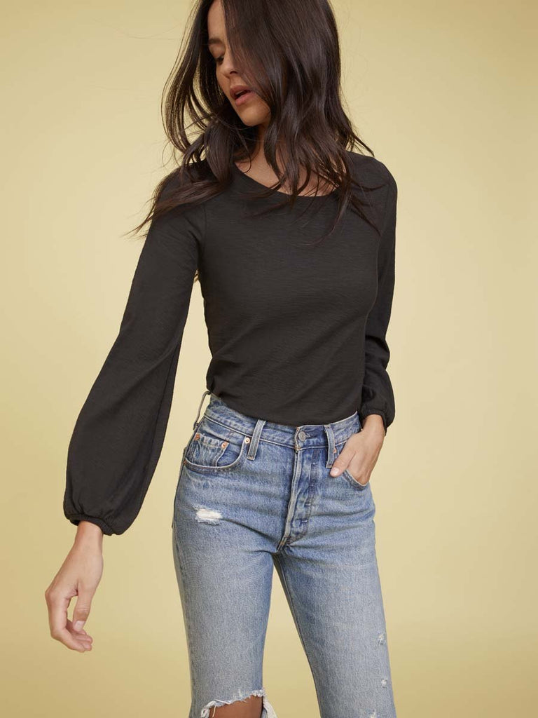 Nation LTD Becca Long Sleeve in Washed Black