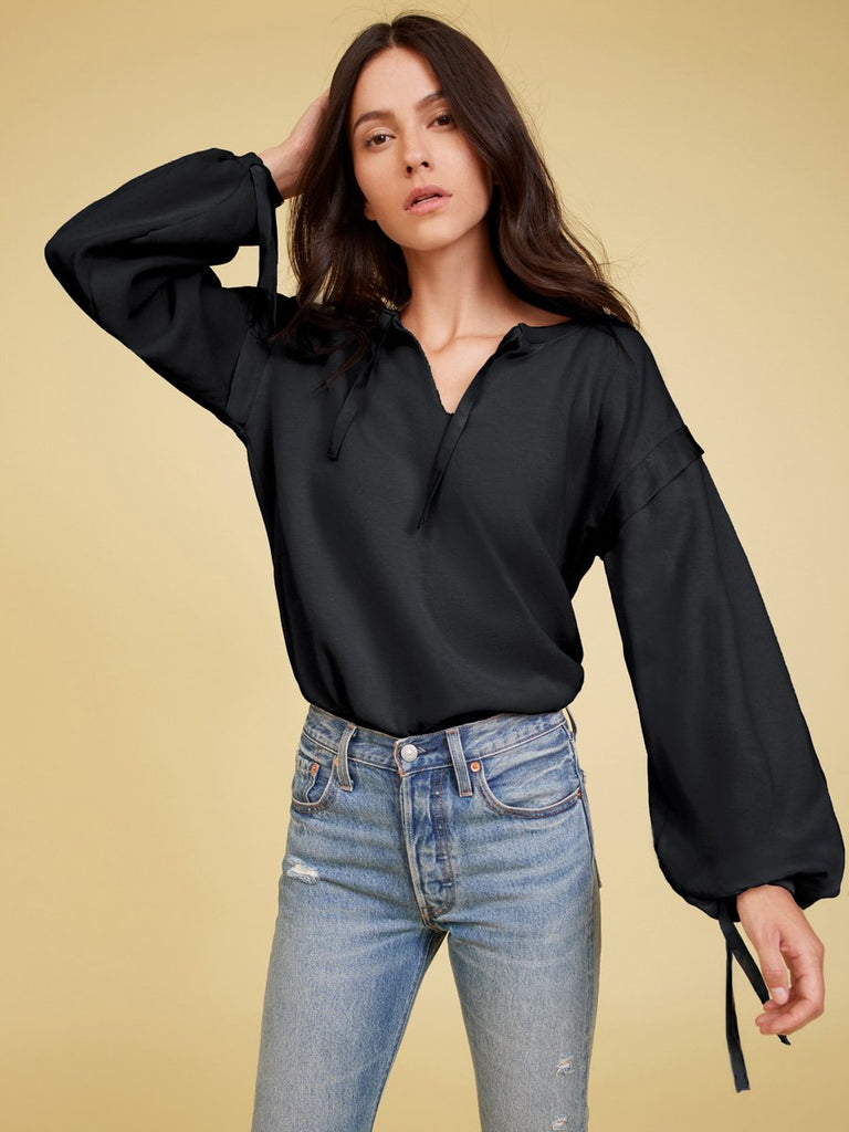 Nation LTD Aerin Sweatshirt in Washed Black