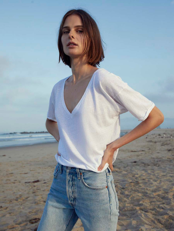 Paloma Tee in Recycled Cotton in White