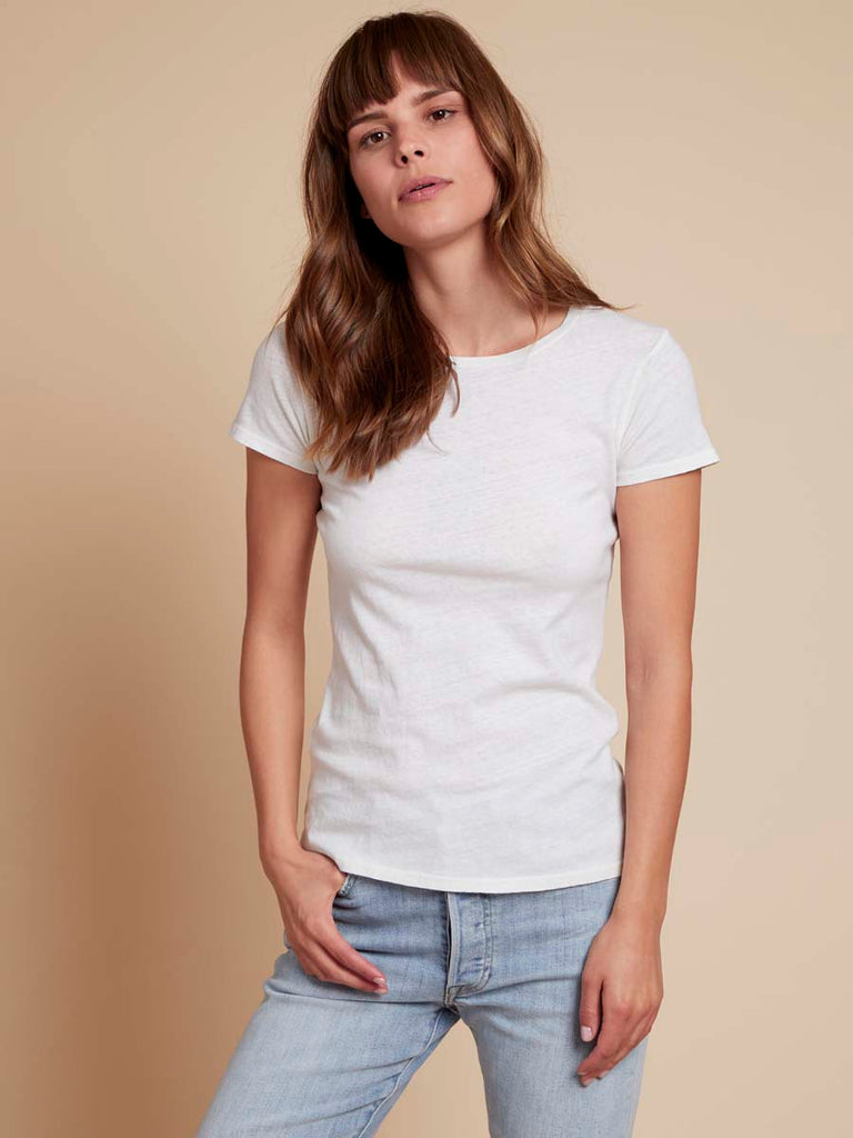 The Boy Tee in Recycled Cotton in Off White