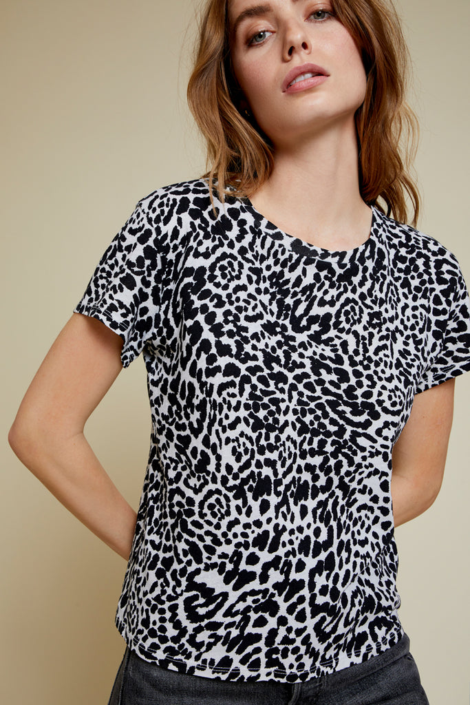 Nation LTD Marie Tee in Recycled Cotton in Oat Cheetah