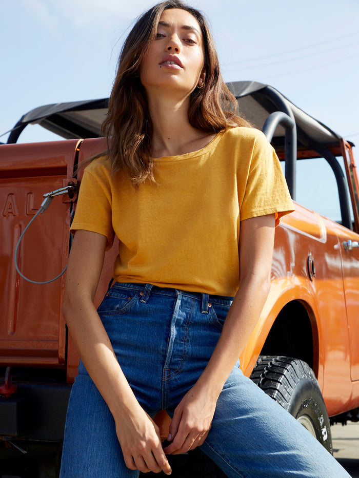 Nation LTD Marie Tee in Recycled Cotton in Turmeric
