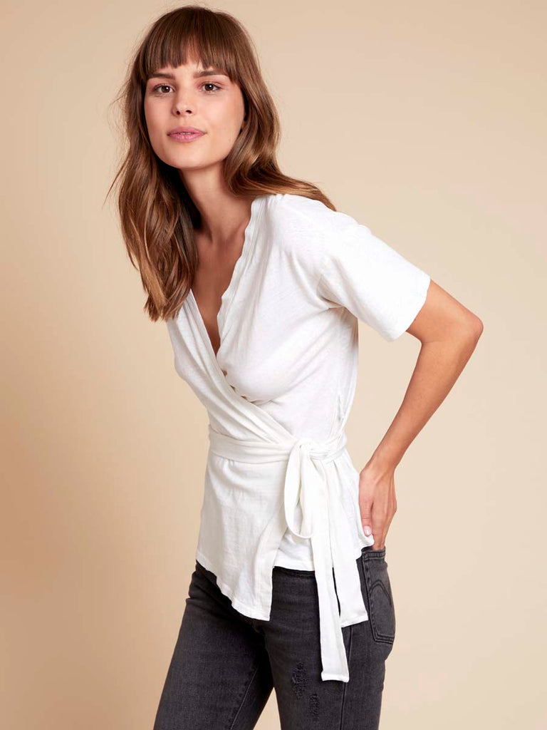 Sara Kimono Tee in Recycled Cotton in Off White