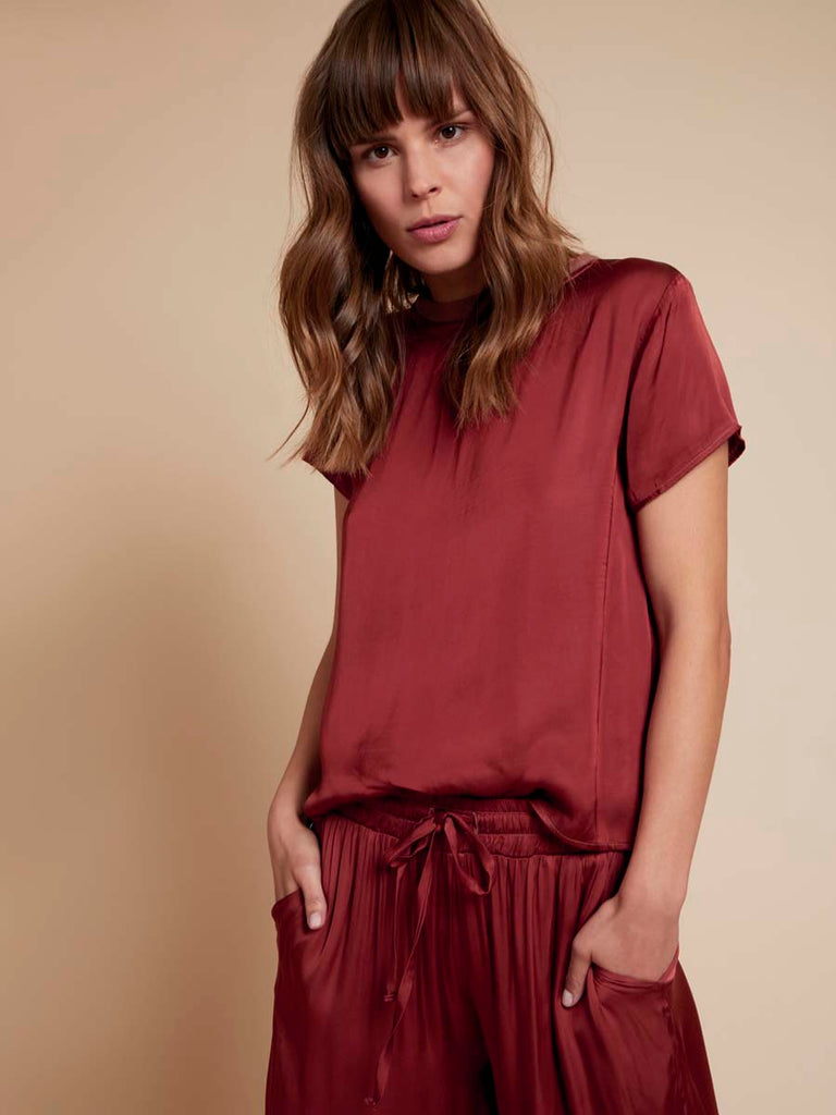 Nation LTD Marie Tee in Sateen in Cinnamon
