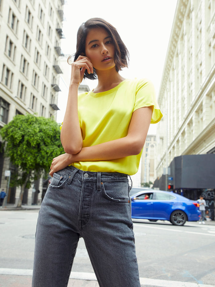 Nation LTD Marie Tee in Sateen in Canary