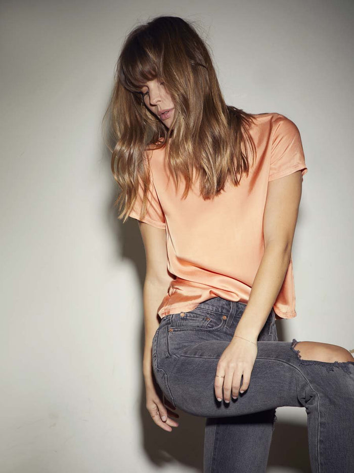 Nation LTD Marie Tee in Sateen in Melon